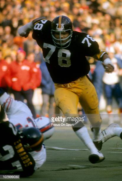 Defensive End Dwight White of the Pittsburgh Steelers in action against the Buffalo Bills December 22 1974 during an NFL football game at Three River...