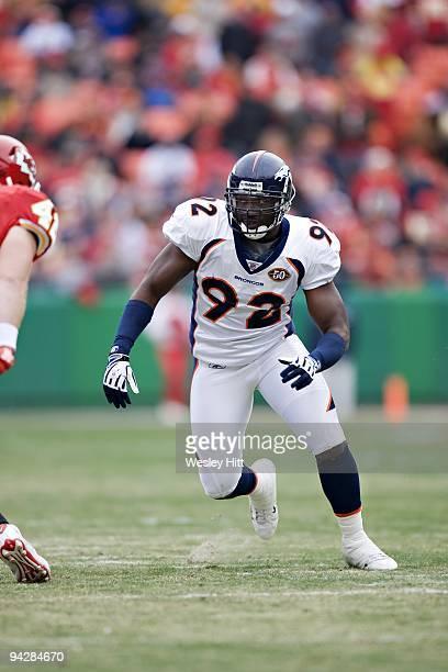 Defensive end Elvis Dumervil of the Denver Broncos rushes the quarterback during a game against the Kansas City Chiefs on December 6 2009 in Kansas...