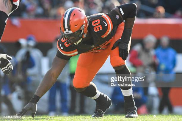 Defensive end Emmanuel Ogbah of the Cleveland Browns awaits the snap in the third quarter of a game against the Atlanta Falcons on November 11 2018...