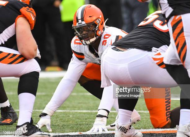 Defensive end Emmanuel Ogbah of the Cleveland Browns awaits the snap in the fourth quarter of a game against the Cincinnati Bengals on November 25,...