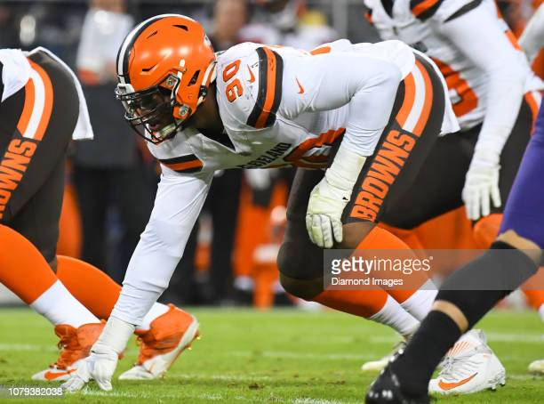 Defensive end Emmanuel Ogbah of the Cleveland Browns awaits the snap in the first quarter of a game against the Baltimore Ravens on December 30 2018...