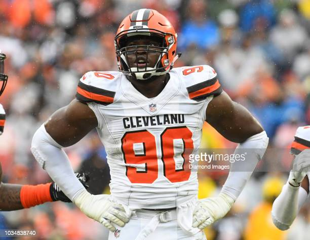Defensive end Emmanuel Ogbah of the Cleveland Browns on the field in the first quarter of a game against the Pittsburgh Steelers on September 9 2018...