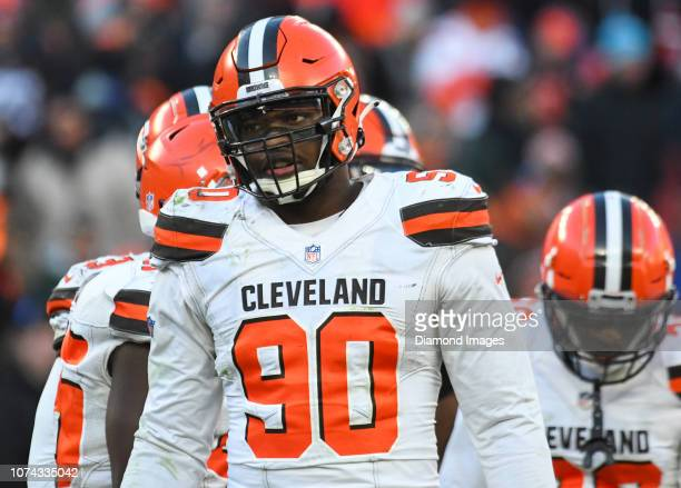 Defensive end Emmanuel Ogbah of the Cleveland Browns on the field in the fourth quarter of a game against the Carolina Panthers on December 9 2018 at...