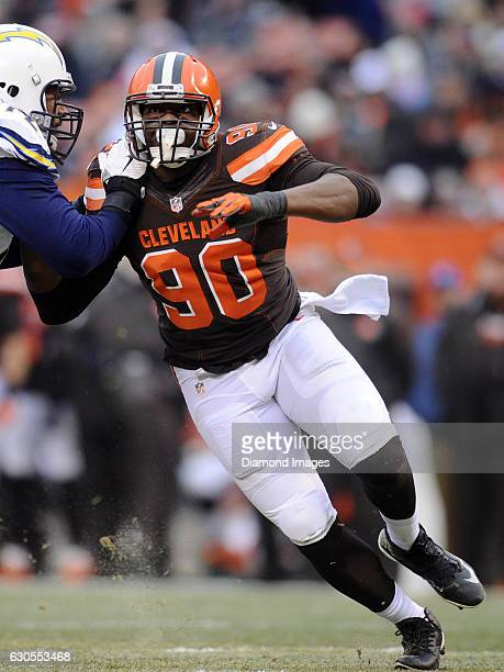 Defensive end Emmanuel Ogbah of the Cleveland Browns rushes off the line of scrimmage during a game against the San Diego Chargers on December 24...