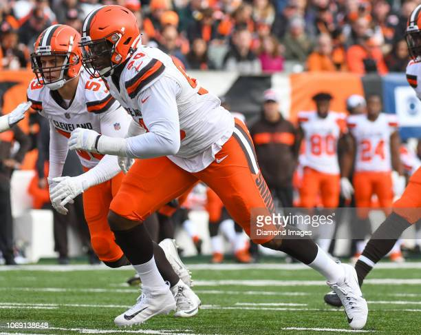 Defensive end Emmanuel Ogbah of the Cleveland Browns rushes the line of scrimmage in the second quarter of a game against the Cincinnati Bengals on...
