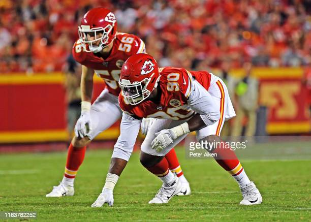 Defensive end Emmanuel Ogbah of the Kansas City Chiefs gets set on defense during the second half of a preseason game the San Francisco 49ers at...