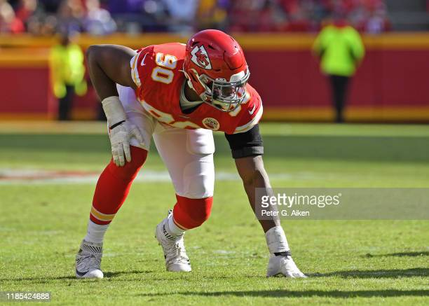 Defensive end Emmanuel Ogbah of the Kansas City Chiefs gets set on defense against the Minnesota Vikings during the second half at Arrowhead Stadium...