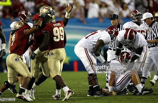 Defensive end Everette Brown of the Florida State Semilnoles celebrates a sack against quarterback John Parker Wilson of the University of Alabama...