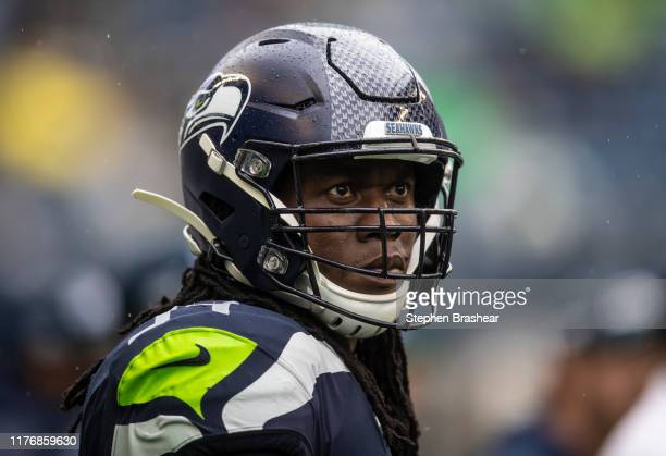 Defensive end Ezekiel Ansah of the Seattle Seahawks is pictured on the sidelines during a game against the New Orleans Saints at CenturyLink Field on...
