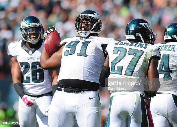 Defensive end Fletcher Cox of the Philadelphia Eagles reacats after recovering a fumble in the second quarter against the St Louis Rams on October 5...