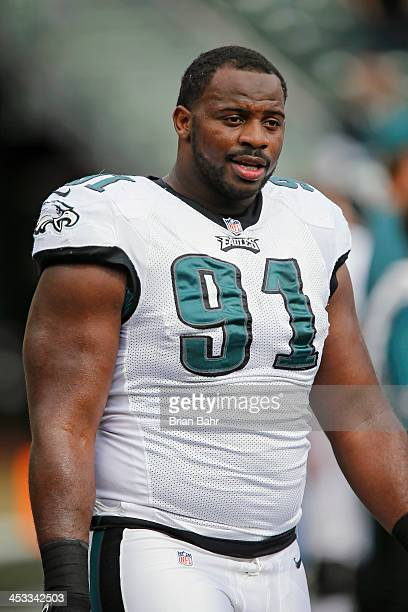 Defensive end Fletcher Cox of the Philadelphia Eagles warms up before a game against the Oakland Raiders on November 3 2013 at Oco Coliseum in...