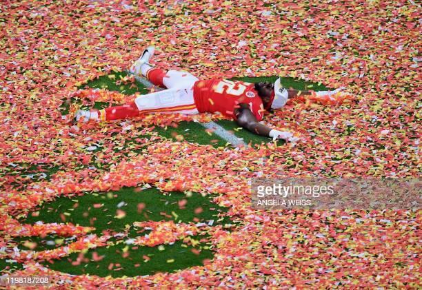 Defensive End for the Kansas City Chiefs Demone Harris celebrates after winning Super Bowl LIV between the Kansas City Chiefs and the San Francisco...