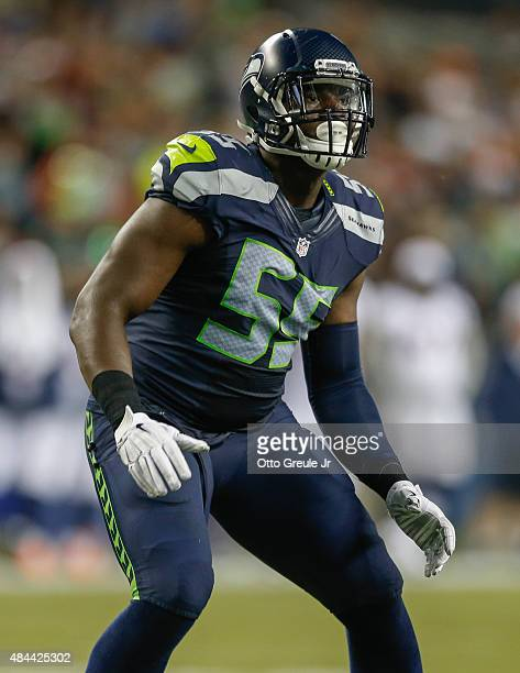 Defensive end Frank Clark of the Seattle Seahawks in action against the Denver Broncos at CenturyLink Field on August 14 2015 in Seattle Washington