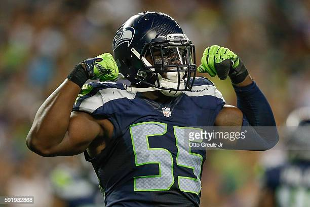 Defensive end Frank Clark of the Seattle Seahawks reacts after making a stop against the Minnesota Vikings at CenturyLink Field on August 18 2016 in...