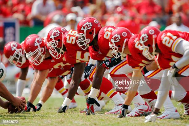Defensive end Gary Stills and linebacker Keyaron Fox of the Kansas City Chiefs line up against the New York Jets on September 11, 2005 at Arrowhead...