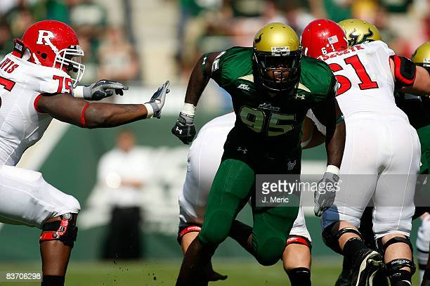 Defensive end George Selvie of the South Florida Bulls rushes the quarterback of the Rutgers Scarlet Knights during the game at Raymond James Stadium...