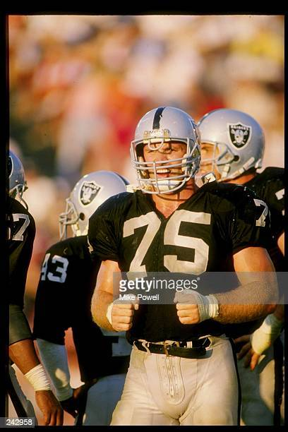 Defensive end Howie Long of the Los Angeles Raiders in action during a game against the Denver Broncos at the Los Angeles Memorial Coliseum in Los...