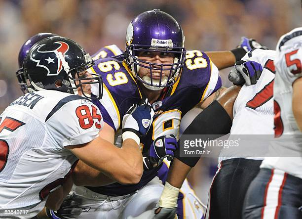 Defensive end Jared Allen of the Minnesota Vikings rushes the quarterback during an NFL game against the Houston Texans at the Hubert H Humphrey...