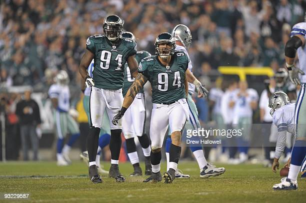 Defensive end Jason Babin and defensive end Chris Clemons of the Philadelphia Eagles celebrate during the game against the Dallas Cowboys on November...