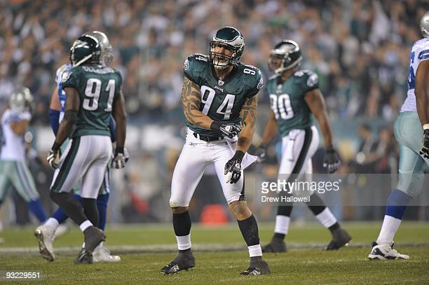 Defensive end Jason Babin of the Philadelphia Eagles celebrates during the game against the Dallas Cowboys on November 8 2009 at Lincoln Financial...