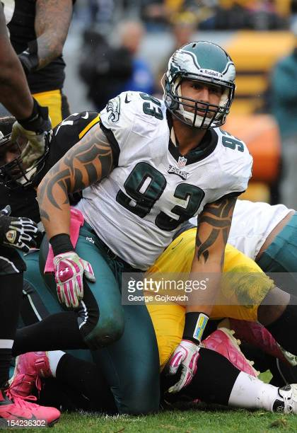 Defensive end Jason Babin of the Philadelphia Eagles looks on from the field during a game against the Pittsburgh Steelers at Heinz Field on October...