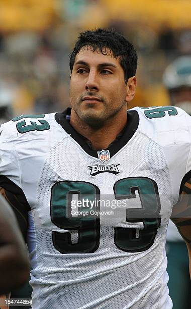 Defensive end Jason Babin of the Philadelphia Eagles looks on from the sideline during a game against the Pittsburgh Steelers at Heinz Field on...