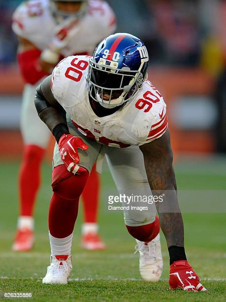 Defensive end Jason PierrePaul of the New York Giants awaits the snap from his position during a game against the Cleveland Browns on November 27...