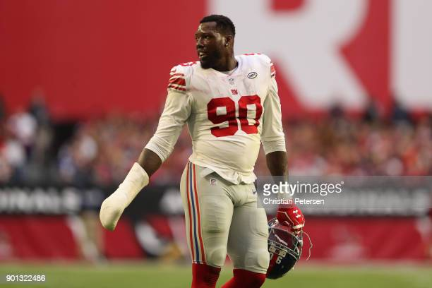 Defensive end Jason PierrePaul of the New York Giants during the first half of the NFL game against the Arizona Cardinals at the University of...