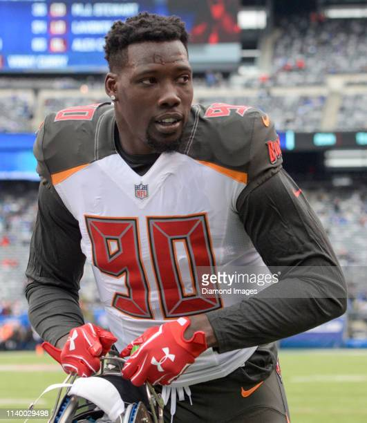 Defensive end Jason PierrePaul of the Tampa Bay Buccaneers walks off the field prior to a game against the New York Giants on November 18 2018 at...