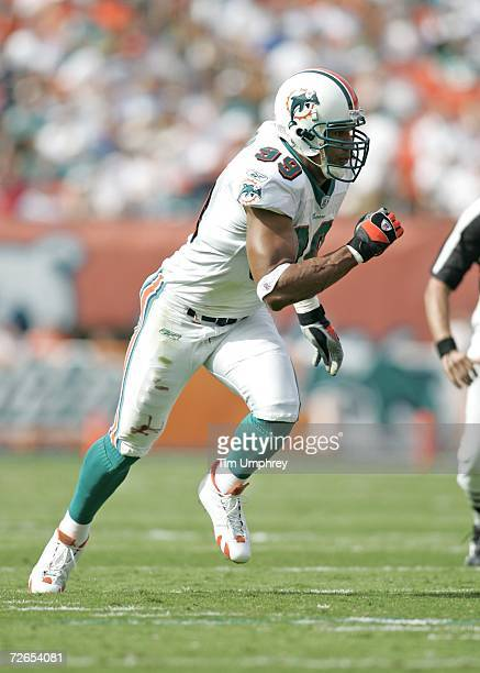 Defensive end Jason Taylor of the Miami Dolphins defends against the Kansas City Chiefs at Dolphin Stadium on November 12 2006 in Miami Florida The...