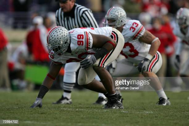 Defensive end Jay Richardson of the Ohio State University Buckeyes waits for the snap during the game against the Northwestern University Wildcats on...
