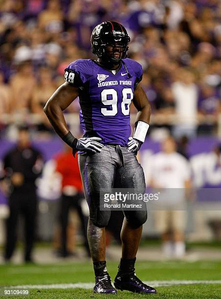 Defensive end Jerry Hughes of the TCU Horned Frogs at Amon G. Carter Stadium on November 14, 2009 in Fort Worth, Texas.