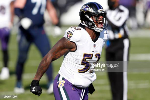 Defensive end Jihad Ward of the Baltimore Ravens reacts following a play during the second quarter of their AFC Wild Card Playoff game against the...
