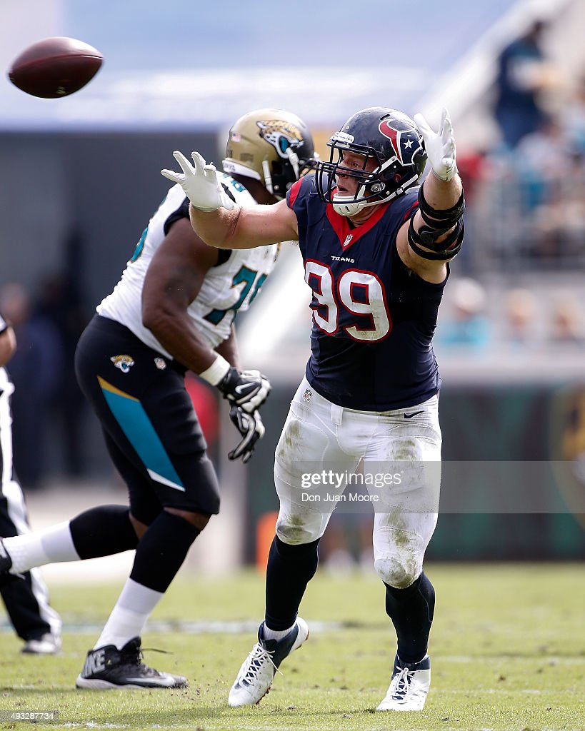 Defensive End J.J. Watt #99 of the Houston Texans attempts to block a pass during the game against the Jacksonville Jaguars at EverBank Field on October 18, 2015 in Jacksonville, Florida. The Texans defeated the Jaguars 31 to 20.