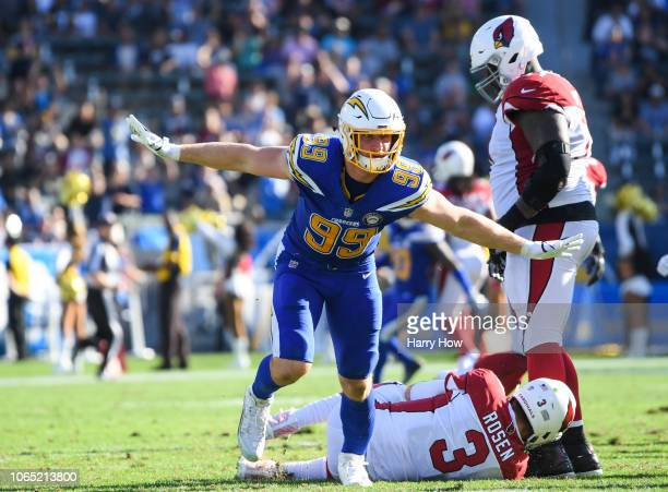 Defensive end Joey Bosa of the Los Angeles Chargers celebrates his sack of quarterback Josh Rosen of the Arizona Cardinals in the second quarter at...