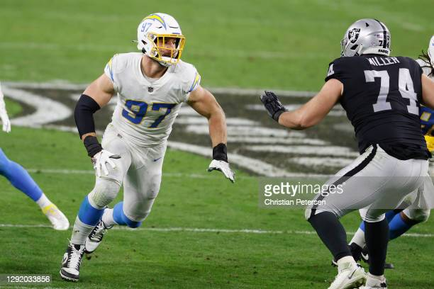 Defensive end Joey Bosa of the Los Angeles Chargers in action during the NFL game against the Las Vegas Raiders at Allegiant Stadium on December 17,...