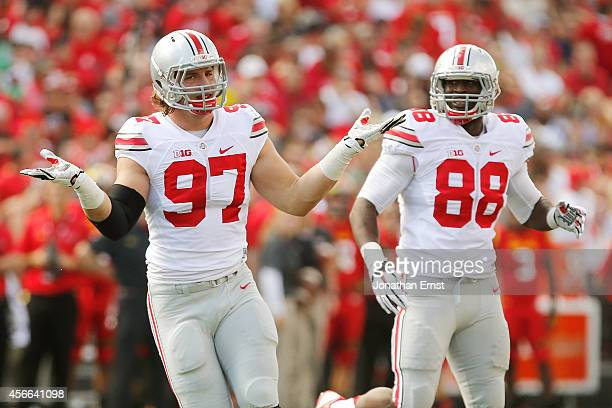 Defensive end Joey Bosa of the Ohio State Buckeyes celebrates after one of his first-half sacks against the Maryland Terrapins at Byrd Stadium on...