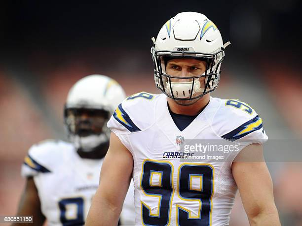 Defensive end Joey Bosa of the San Diego Chargers stands on the field prior to a game against the Cleveland Browns on December 24 2016 at FirstEnergy...