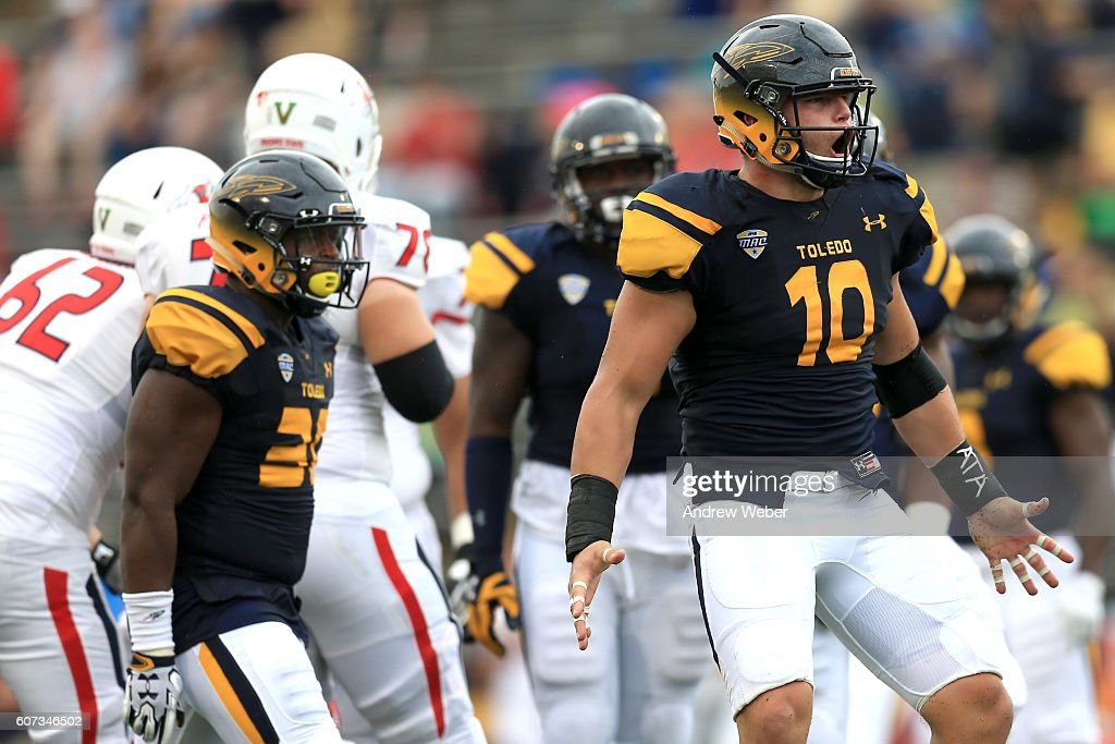 Defensive end John Stepec #10 of the Toledo Rockets celebrates a sack against the Fresno State Bulldogs during the third quarter at Glass Bowl on September 17, 2016 in Toledo, Ohio.