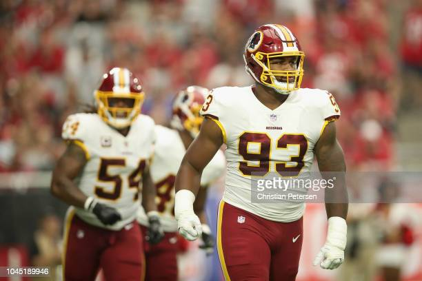 Defensive end Jonathan Allen of the Washington Redskins reacts during the NFL game against the Arizona Cardinals at State Farm Stadium on September 9...