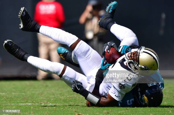 Defensive end Josh Allen of the Jacksonville Jaguars sacks quarterback Teddy Bridgewater of the New Orleans Saints in the second quarter of the game...