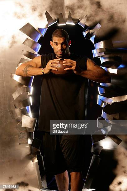 Defensive end Julius Peppers of the Carolina Panthers poses for a photo during a photo shoot on April 22 2006 in Houston Texas