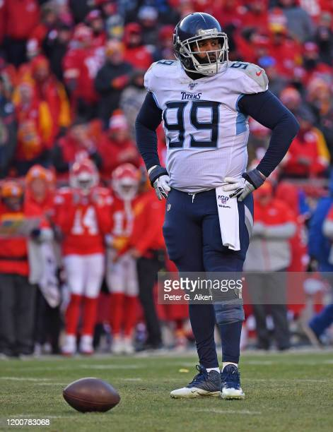Defensive end Jurrell Casey of the Tennessee Titans looks to the sideline before a play in the second half against the Kansas City Chiefs in the AFC...