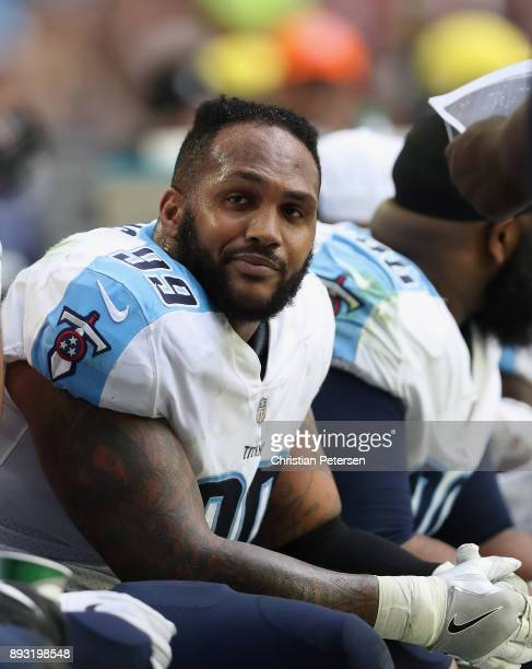 Defensive end Jurrell Casey of the Tennessee Titans on the bench during the NFL game against the Arizona Cardinals at the University of Phoenix...