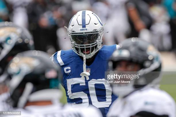 Defensive End Justin Houston of the Indianapolis Colts during the game against the Jacksonville Jaguars at TIAA Bank Field on September 13, 2020 in...