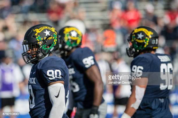 Defensive end Malik Reed of the Nevada Wolf Pack shows off a new helmet design during the game against the UNLV Rebels at Mackay Stadium on November...