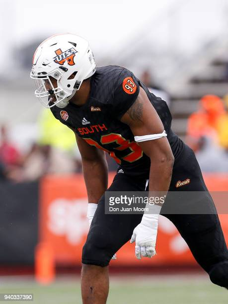 Defensive End Marcus Davenport of the TexasSan Antonio on the South Team during the 2018 Resse's Senior Bowl at LaddPeebles Stadium on January 27...