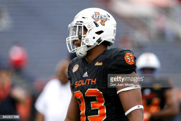 Defensive End Marcus Davenport of the TexasSan Antonio on the South Team looks on during the 2018 Resse's Senior Bowl at LaddPeebles Stadium on...