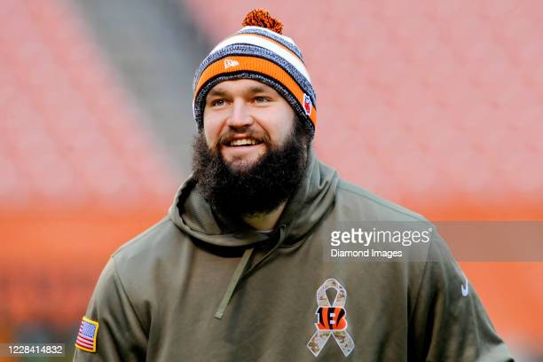 Defensive end Margus Hunt of the Cincinnati Bengals warms up prior to a game against the Cleveland Browns at FirstEnergy Stadium on December 14, 2014...