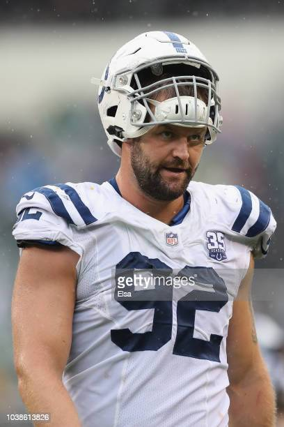 Defensive end Margus Hunt of the Indianapolis Colts looks on against the Philadelphia Eagles during the second quarter at Lincoln Financial Field on...